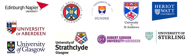 The consortium – Aberdeen, Dundee, Edinburgh, Edinburgh Napier, Glasgow, Heriot-Watt, Robert Gordon, St Andrews, Stirling, Strathclyde