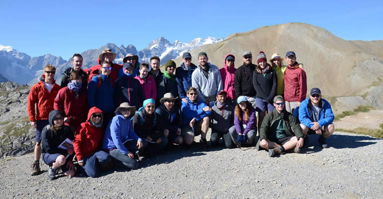 First Year Oil and Gas CDT Cohort at Col Du Galibier (2645m). Part of the Exploration in Challenging Environments Field Trip, France August 2015