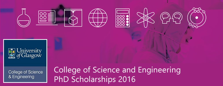 College of Science and Engineering PhD Studentships 2016