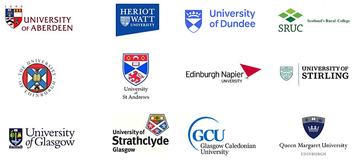 The consortium – Aberdeen, Dundee, Edinburgh, Edinburgh Napier, Glasgow, Heriot-Watt, Robert Gordon, St Andrews, Stirling, Strathclyde